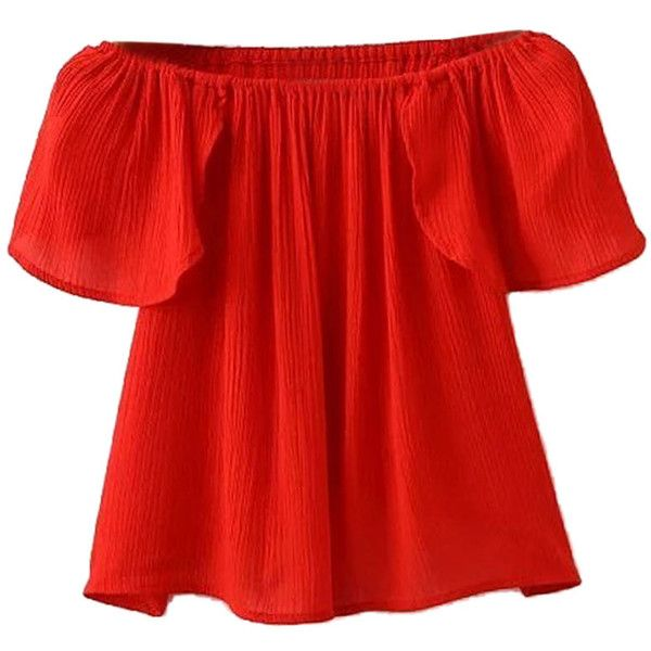 Red Off Shoulder Ruffle Sleeve Wrap Back Blouse ($20) ❤ liked on Polyvore featuring tops, blouses, shirts, red shirt, off shoulder shirt, wrap crop top, polyester shirt and off the shoulder tops