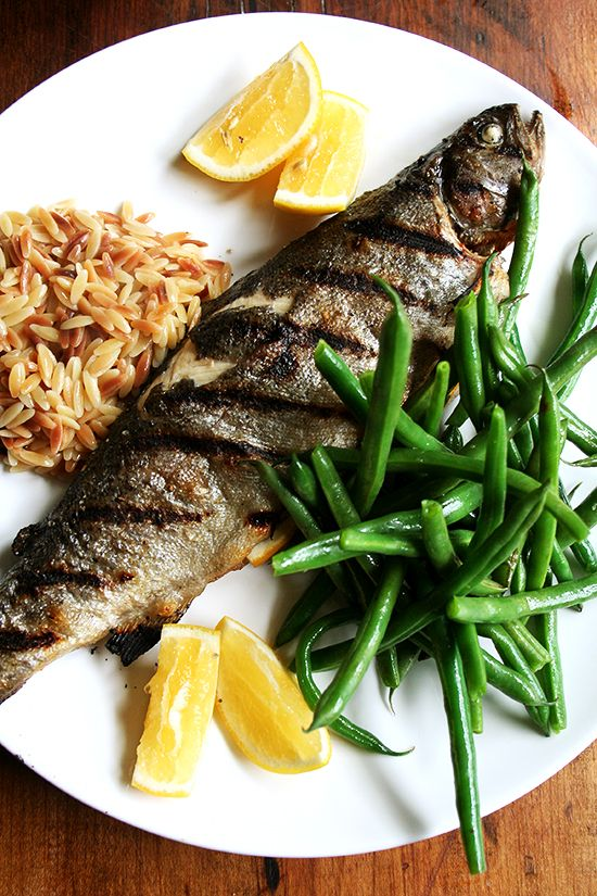 Whole grilled trout with green beans and orzo.-My husband would love this. I am sure it is yummy but he would have to remove the obvious for me