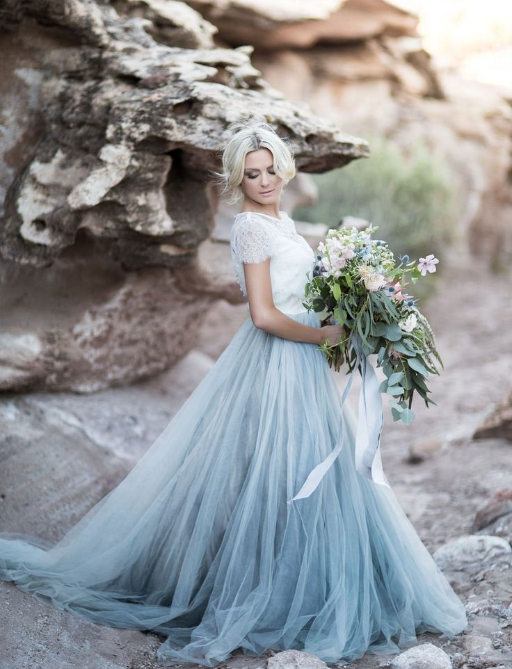 Chantel Lauren Designs wedding dress with a blue tulle skirt