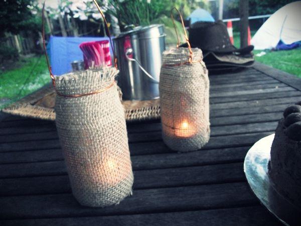 Wild West Camping Party - Rustic Burlap Jar Lanterns tutorial