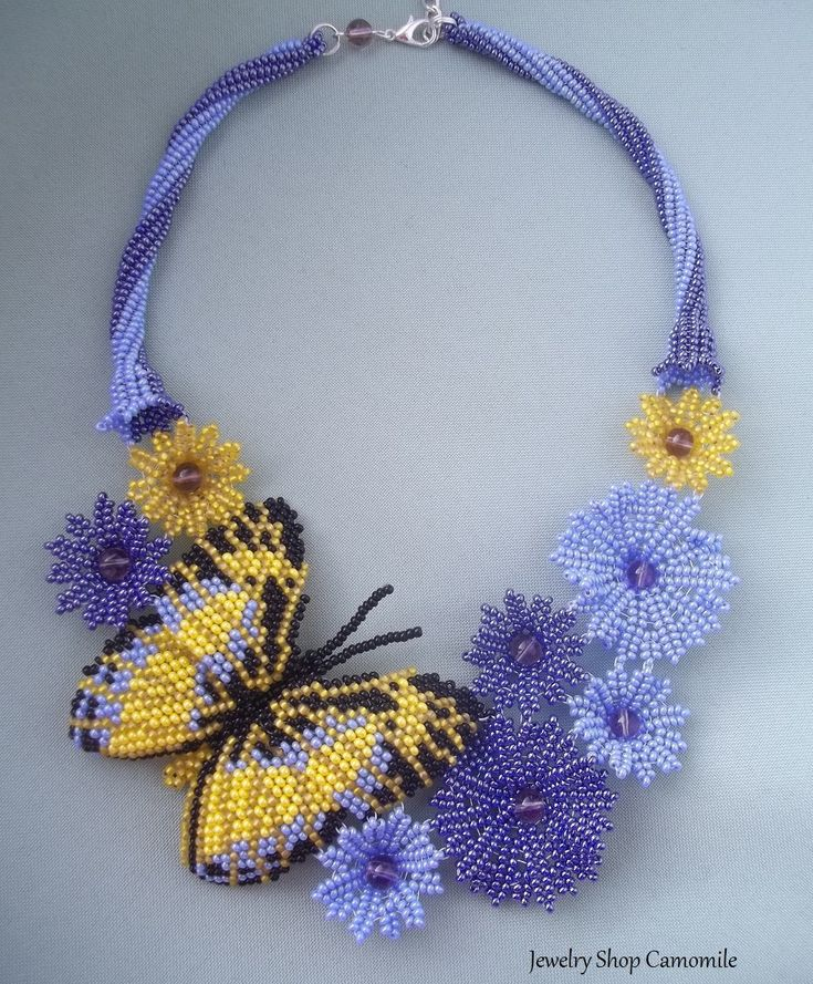 Flowers necklace Baterfly Seed bead necklace Beadwork necklace Blue necklace Blue flowers Handmade jewelry