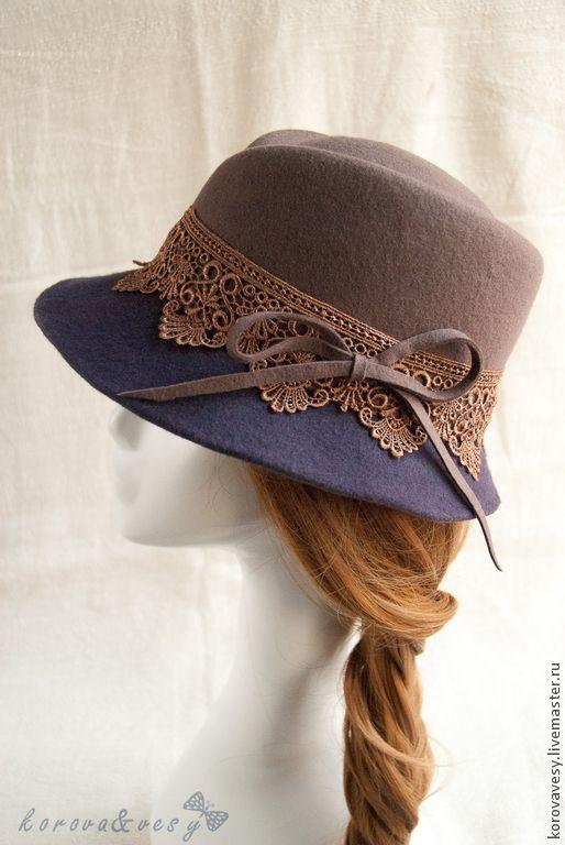 """Купить Женская шляпа-федора """"Осенние сумерки"""" - тёмно-фиолетовый, однотонный, шляпа, шляпка женская"""