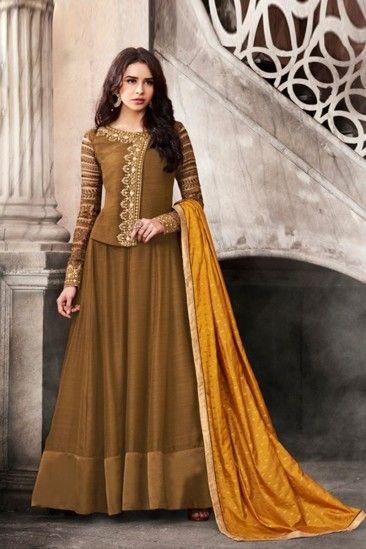 Exclusive Brown Satin Anarkali Churidar Suit With Dupatta - DMV15271
