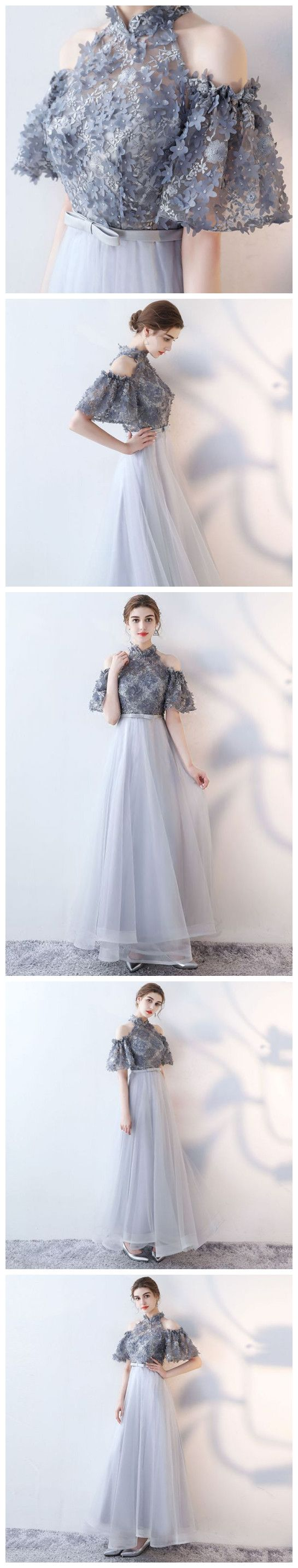 CHIC A-LINE HIGH NECK TULLE APPLIQUE MODEST LONG PROM DRESS EVENING DRESS AM749 #amyprom #fashion #party #evening #chic #promdress #promdresslong #longpromdress #eveningdress #silver