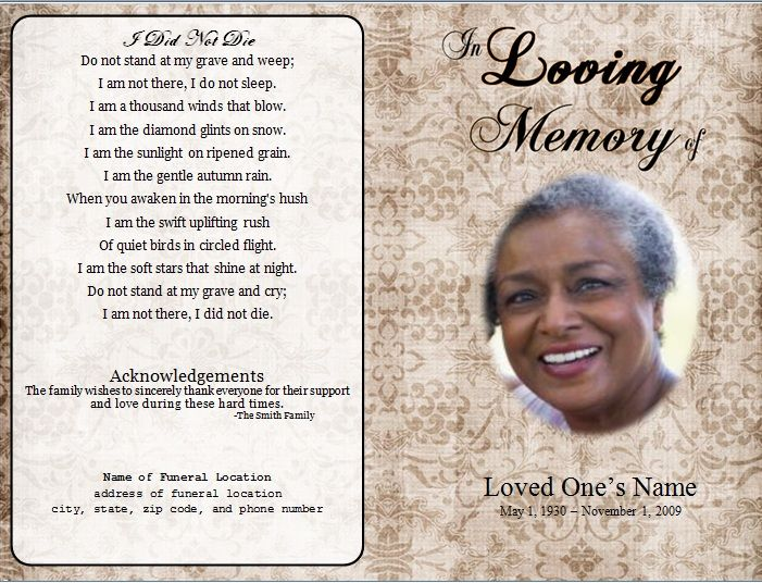 Program For A Funeral. Funeral Program Template 2 - Inside 2 Pages