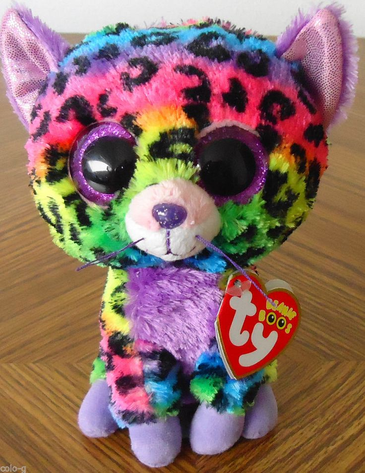 TY Beanie Boos - TRIXIE the Multicolored Leopard - Glitter Eyes - 6 inch