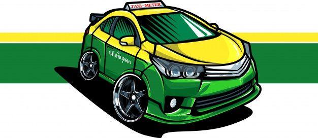 Taxi Taxi Songkran Festival Vector Portrait Illustration