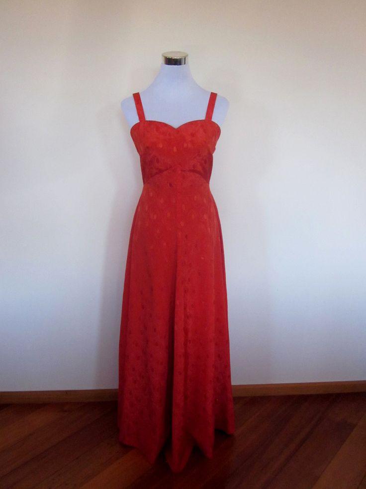 VINTAGE authentic rose red satin finish retro 70s/80s sweetheart neck dress (equiv sz us 4, uk au nz 8, eu 36) by shopblackheart on Etsy