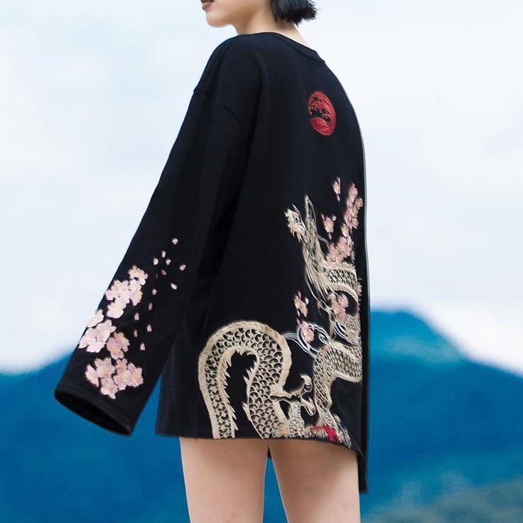 Japanese Harajuku Embroidery Sakura Dragon Shirt SD01393 – SYNDROME - Cute Kawaii Harajuku Street Fashion Store