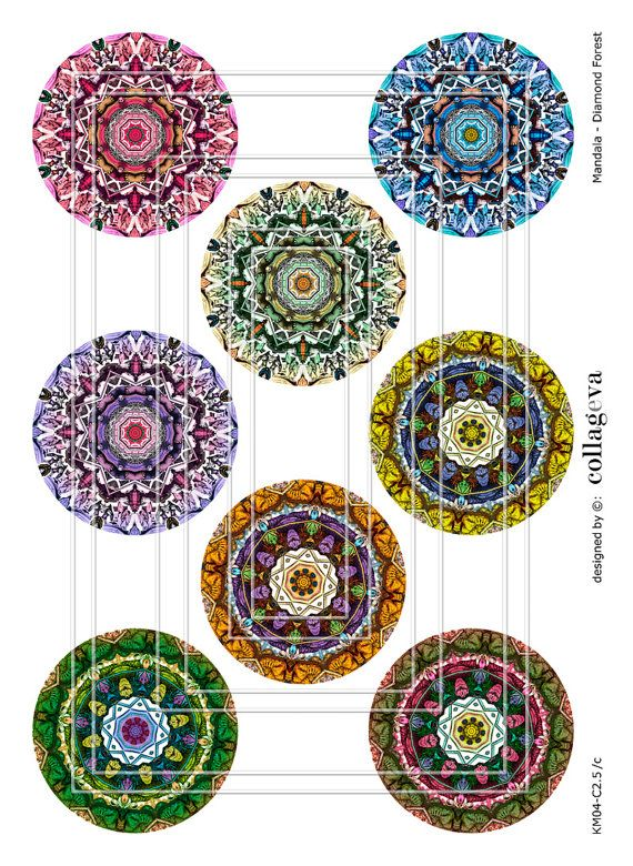 Mandala, Kaleidoscope, Digital Collage Sheet, 2.5 inch circles for Pocket Mirrors, Magnets Buttons, Paper Weights, INSTANT DOWNLOAD by collageva
