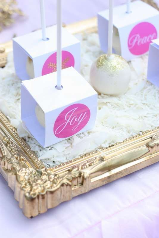 Sparkly cake pops at a pink and gold Christmas party!  See more party planning ideas at CatchMyParty.com!