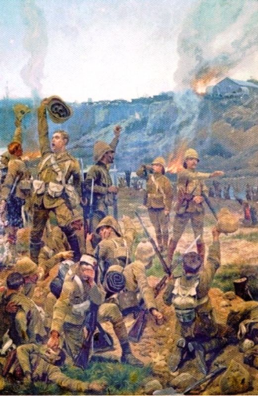 "Battle of Paadeberg, 18-27 February, 1900. The Boer army under Piet Cronjé was retreating from Magersfontein when they were caught by British cavalry near Paadeberg drift. The position was vulnerable to artillery, but Kitchner wasted lives on frontal assaults in what became known as ""Bloody Sunday."" Despite the British losses, Cronjé was forced to surrender, along with nearly 10% of the entire Boer army. The battle was the first major British victory, and a turning point in the war."