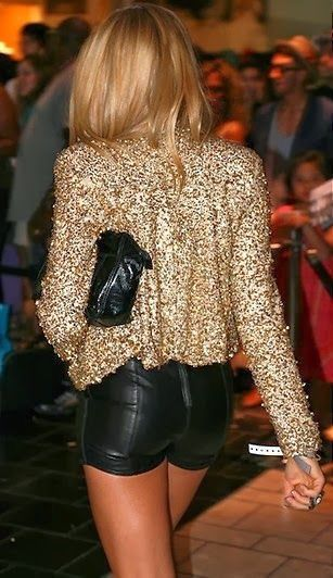Sequin blazer and leather shorts.
