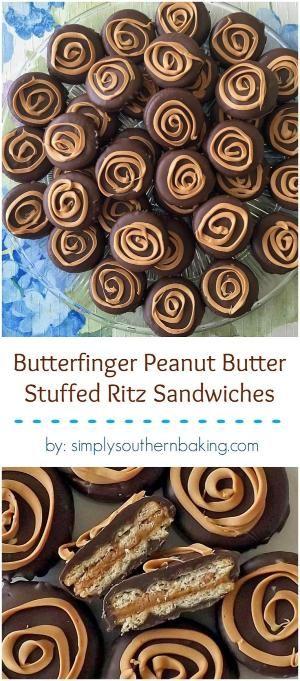 de chocolate duplo coberto sanduíches de biscoito Ritz com um Butterfinger e enchimento manteiga de amendoim. by Divonsir Borges