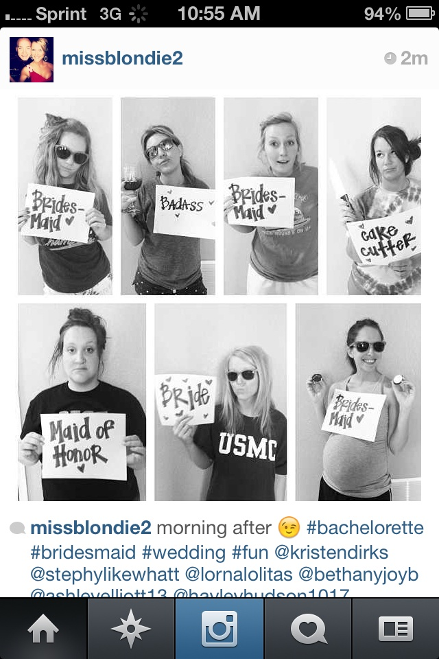 Bahahahah so what to do this! Bachelorette party morning after picture.