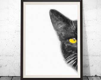 Aquarel kat print, zwarte kat afdrukken, zwarte kat schilderij kat art poster, kat art prints, zwarte kat decor, kat home decor, grappige dierlijke kunst
