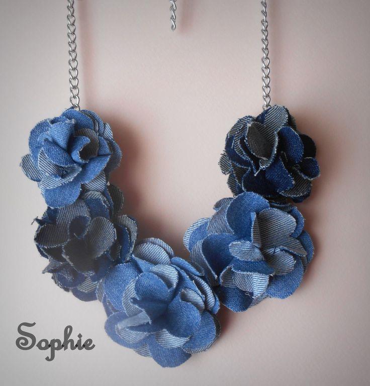 handmade denim flowers necklace! κολιέ με χειροποίητα λουλούδια από τζιν ύφασμα! https://www.facebook.com/Sophies-world-712091558842001/