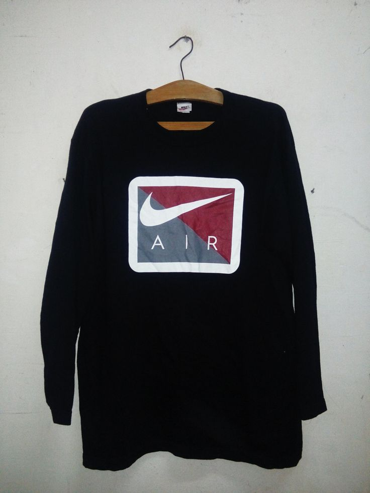 Sale Rare !! Vintage 90's NIKE Air Sport Long Sleeves Big Logo designs Big Swoosh spell Out Celebrity Fashion Style T-Shirt Sz L by Psychovault on Etsy