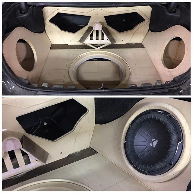 car audio custom install stereo. trunk walled off. darth vader face. fiberglass