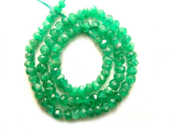 Natural Emerald Faceted Rondelle / 2 to 2.5 mm by beadsofgemstone