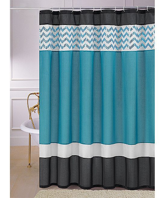 Teal sequin luna shower curtain ps teal shower curtains for Black and teal bathroom ideas