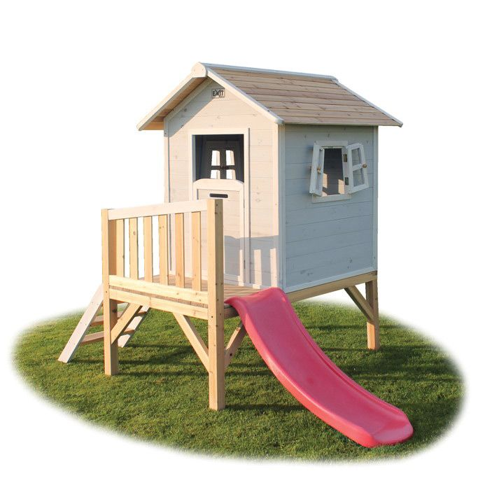 Simple Kinder Spielhaus EXIT Beach Kinderspielhaus Stelzenhaus Holz grau Kinderspielger te f r den
