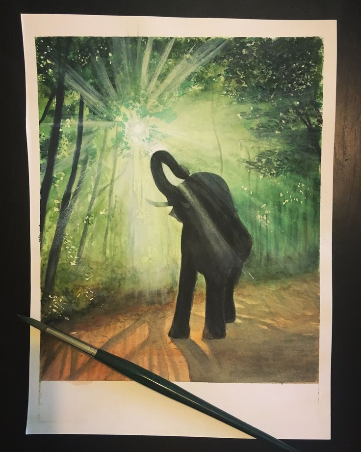 Aquarel watercolor painting of an elephant