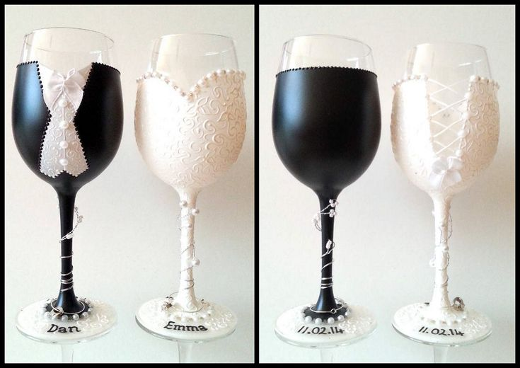 Wedding Wine Glasses Glass Decorating Pinterest Wine