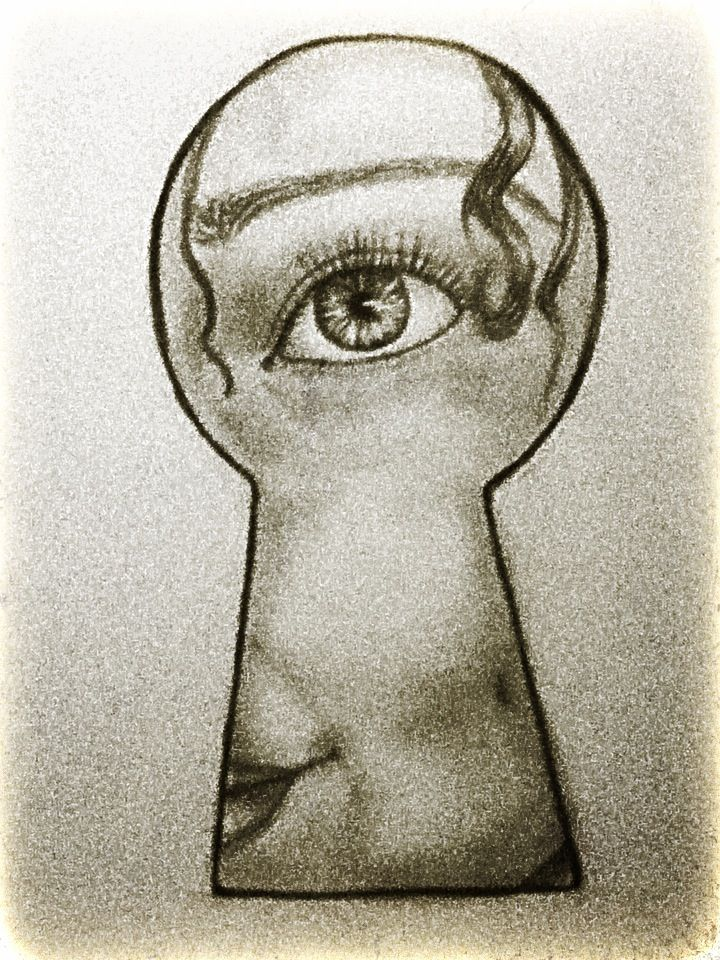 Looking Through A Keyhole Face Drawing Art Sketches