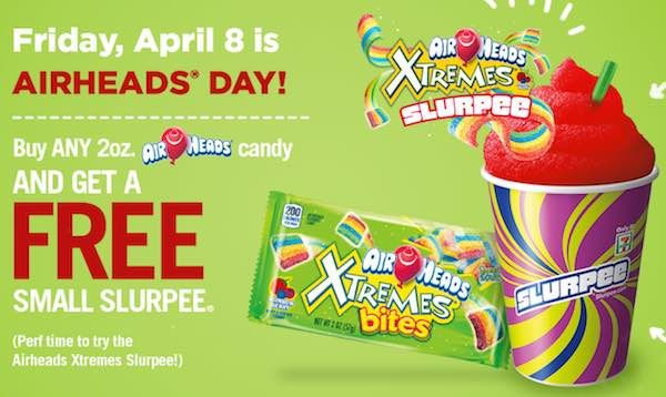 Check out this deal at 7-Eleven! Tomorrow, April 8th, get a FREE small Airheads Xtremes Rainbow Berry Slurpee when you buy ANY 2oz package of Airheads or Airheads Xtremes Candy! If you don't want to try the Airheads Rainbow Slurpee, you can get any other small drink free! Head to the location nearest you and …