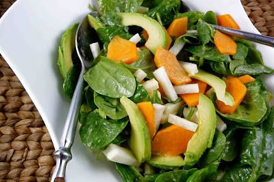Spinach Salad with Persimmon, Jicama & Avocado with Miso Dressing Recipe