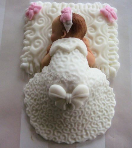 Baby Cake Topper Baptism Christening Gown Dress White Pillow Pink Favors | eBay