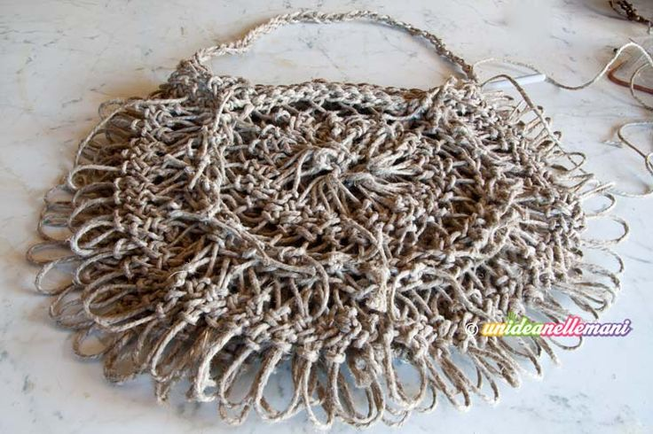 borsa con lo spago, borsa di spago all'uncinetto, borsa di spago fai da te, borsa di corda, borsa di corda all'uncinetto,