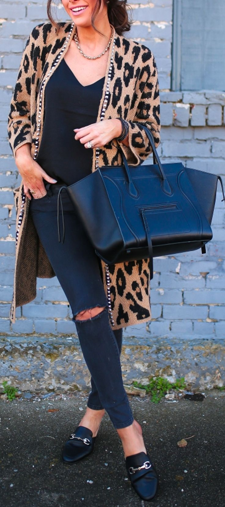 Animal Print Cardigan, black tee, black jeans, black Gucci flats, black Celine bag. Joe's Jeans cardigan, Express Cami, DL1961 Denim, Target flats (gucci dupes!) victoria emerson necklace and bracelet, Celine Bag. Fashion Blogger, Casual Outfit, Fashion Inspiration, Fall Outfit, Winter Outfit. The Sweetest Thing Blog, Emily Ann Gemma.  #makeup #emilygemma #thesweetestthingblog #fallfashion