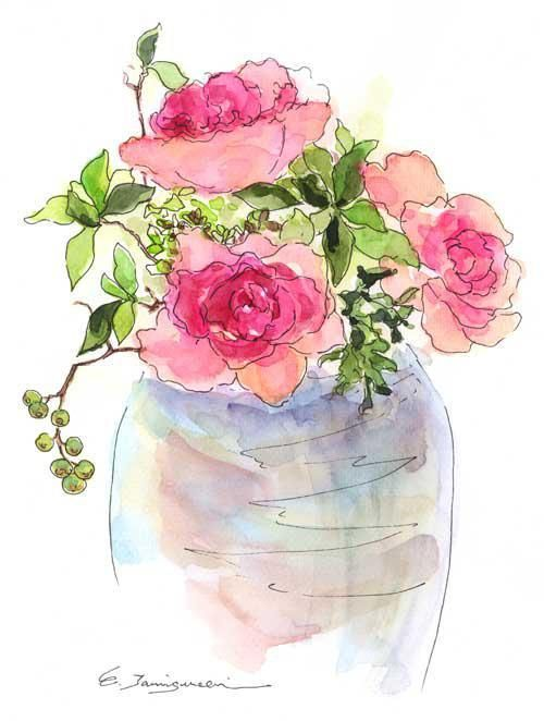 vaso de flor rosa watercolor