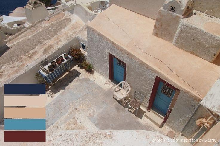 [color inspiration & photo by SISING] mat, greece, greek, santorini, antique