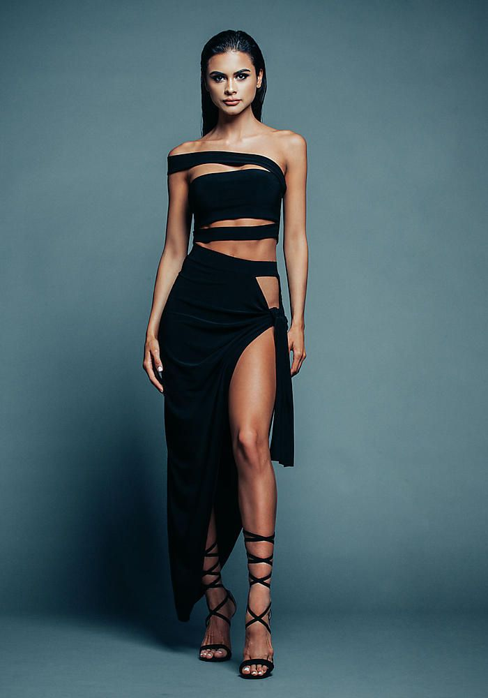 Black Off Shoulder Strappy Crop Top - Sophia Miacova for Love Culture - SOPHIA x LC
