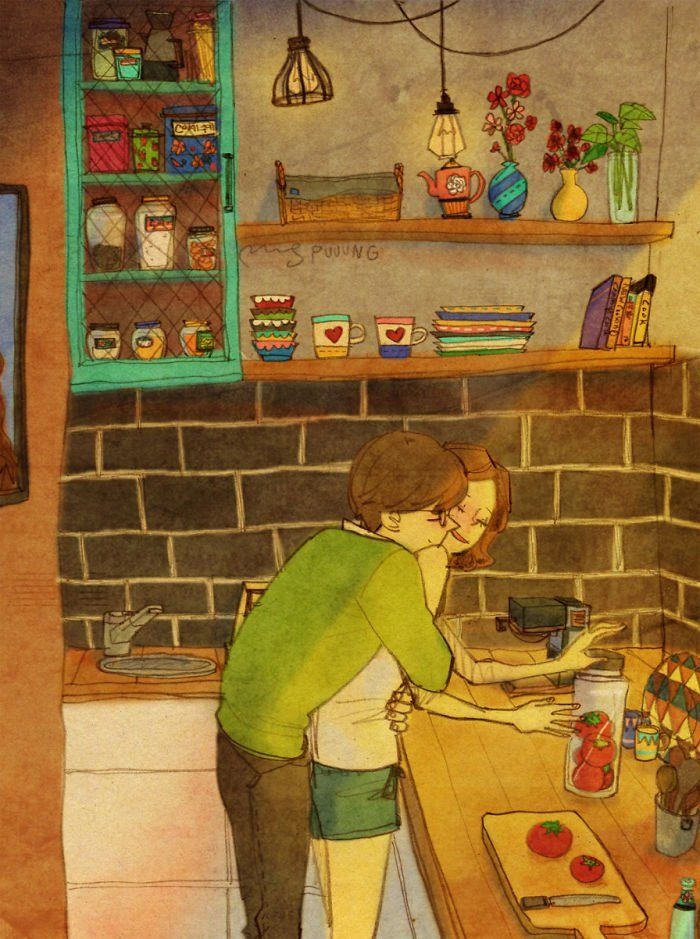 O ilustrador Puuung criou uma série super bonitinha para mostrar esses gestos de afeto no dia a dia de um casal, que se sentem cada vez mais abraçados com a companhia um do outro.