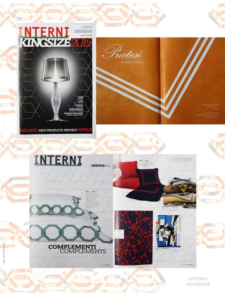 """INTERNI Magazine - April 2015  #Salone del Mobile #Milano #Pratesi  Displaying our """"Three Lines"""" Embroidery & our Fall/Winter 2015 Collection  #Interni #Magazine #Collection #Interior #Design #Architecture #Bed #Linens #Home #Decor #Luxury"""