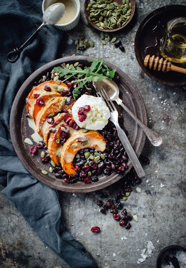 Roasted pumpkin black beans tahini vegetarian food salad