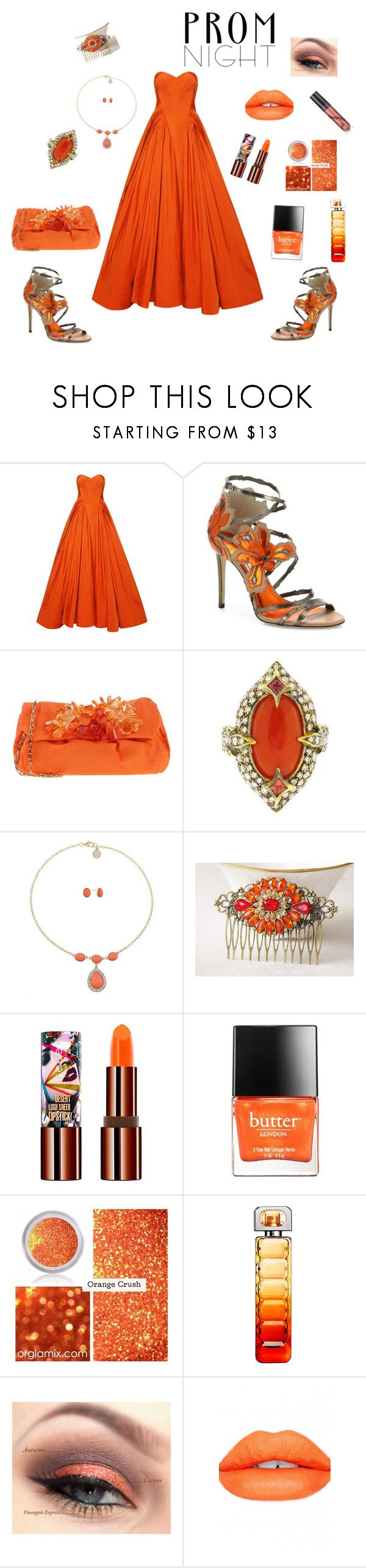 Orange Prom Dress by siriusfunbysheila1954 on Polyvore featuring Zac Posen, Jimmy Choo, P.A.R.O.S.H., Cathy Waterman, Liz Claiborne, Teeez, Sugarpill, BOSS Orange and Butter London