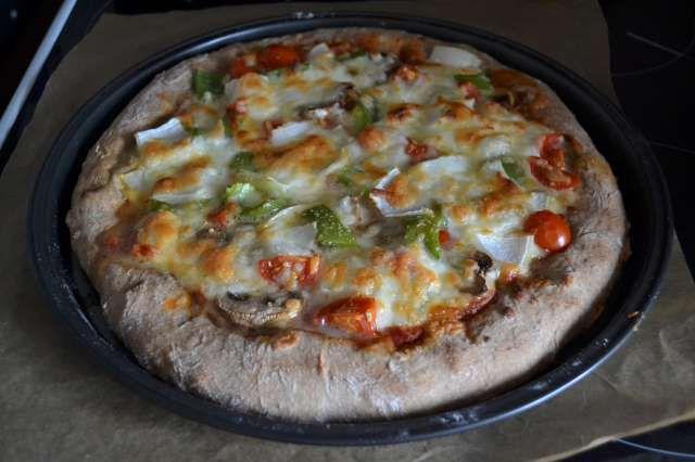 Home made stuffed crust veggie vegetarian pizza
