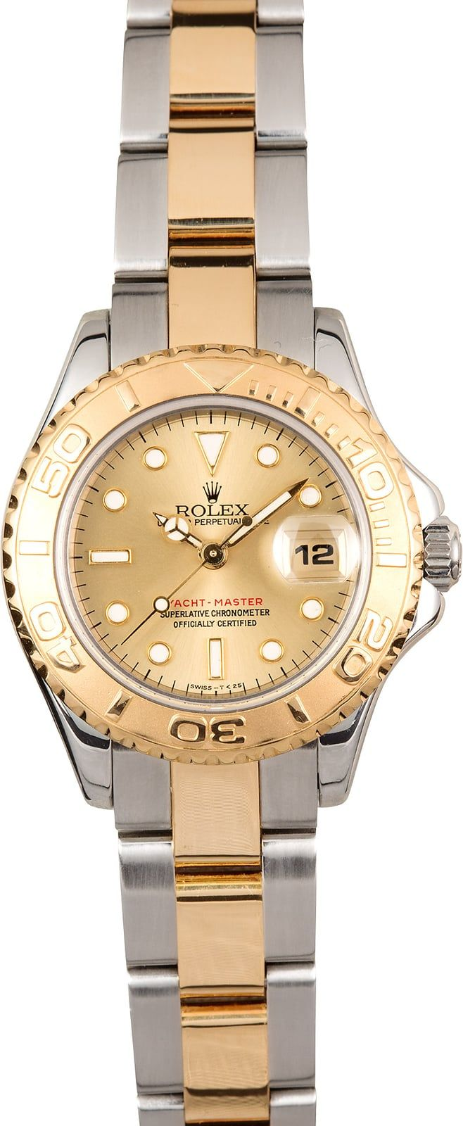 Manufacturer: Rolex   Model Name/Number: Yacht-Master 69623   Serial/Year: U 1997/1998   Grade: (What's This?) II   Gender: Ladies   Features: Automatic movement, scratch-resistant sapphire crystal, waterproof screw-down crown, Quickset date   Case: Stainless steel w/ 18k yellow gold rotatable time-lapse bezel (29mm)   Dial: Champagne w/ white hour markers and luminous hands   Bracelet: Stainless steel and 18k yellow gold Oysterlock   Box & Papers: Bo...