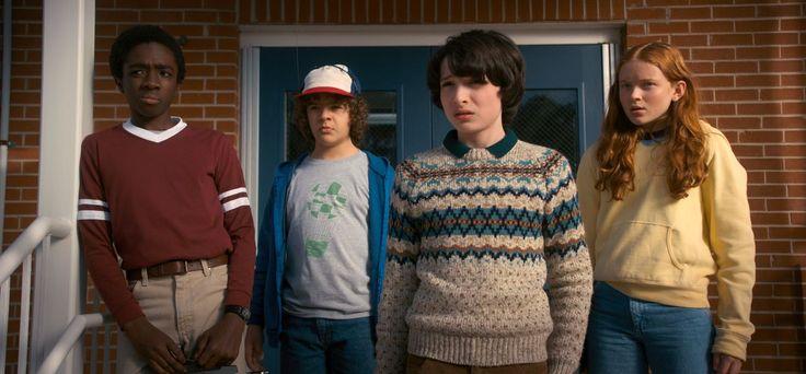 Caleb McLaughlin as Lucas, Gaten Matarazzo as Dustin, Finn Wolfhard as Mike, and Sadie Sink as Max in Stranger Things 2.