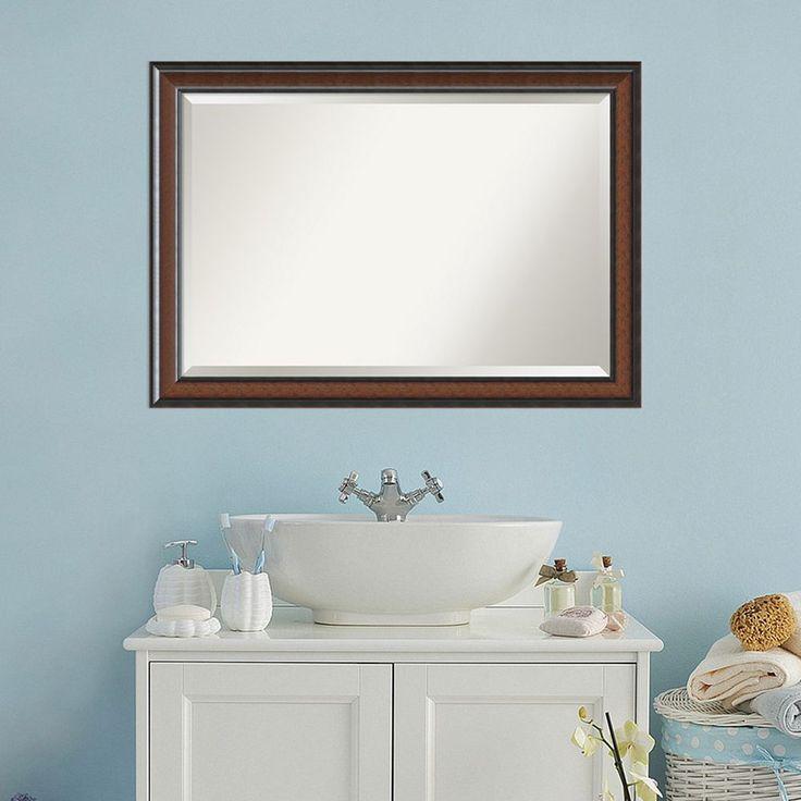 Amanti Art Traditional Wall Mirror, Brown
