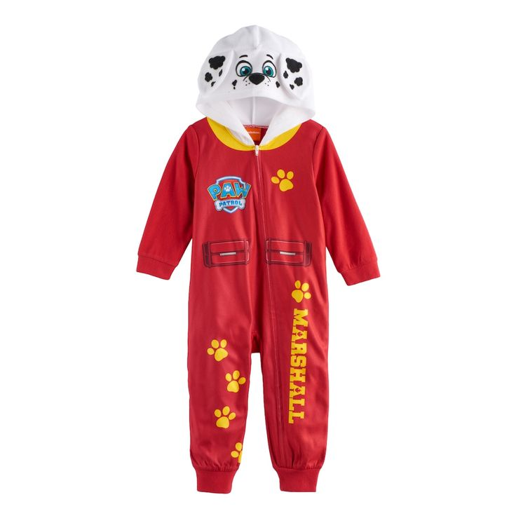 Toddler Boy Paw Patrol Marshall Hooded Footless Pajamas, Size: 2T, Multicolor