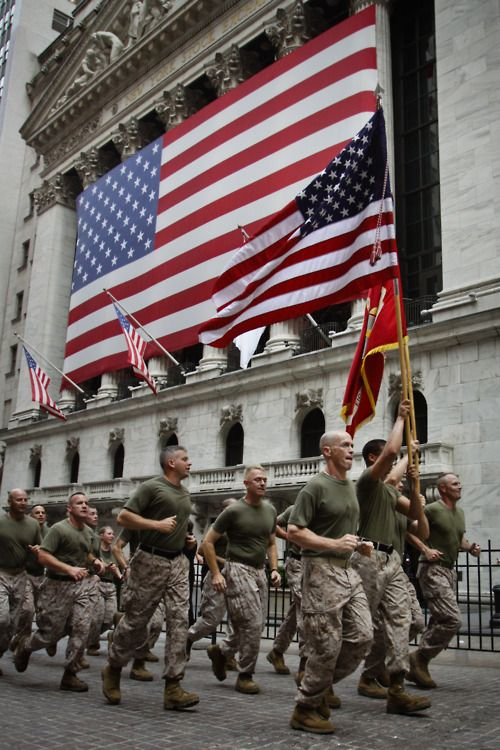 Run past Wall St by NYCMarines Hear the words that inspired the Marines on their run: www.youtube.com/... Marines of the Special Marine Air Ground Task Force New York, culminate Fleet Week New York 2012 with a motivational run through the city passing the New York Stock Exchange, honoring all those that lost their lives on 9/11 for the Marines' week-long celebration of FWNY 2012, May 29. Fleet Week is an opportunity for Marines, sailors and coast guardsmen to show the people