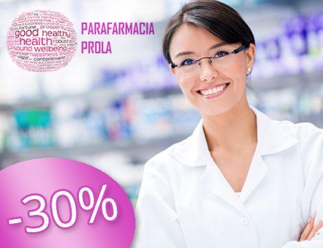 Buono sconto del 30% su tutti i farmaci da banco ed integratori alimentari, farmaci veterinari, dermocosmesi, prodotti per l'infanzia, elettromedicali, articoli sanitari e tanto altro ancora, presso, Parafarmacia Prola.