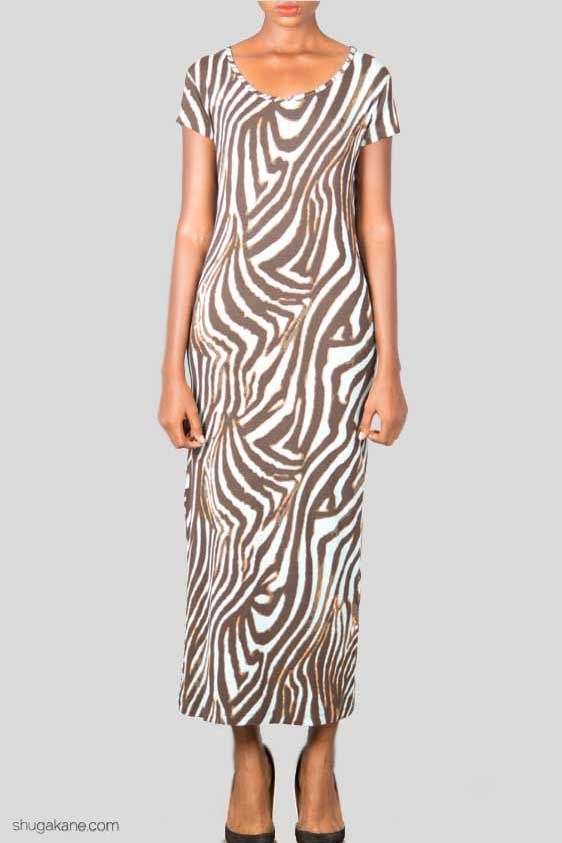Light Blue and Brown Zebra Print Maxi Dress. http://shugakane.com.ng/shop/lorenore/light-blue-and-brown-zebra-print-maxi-dress/