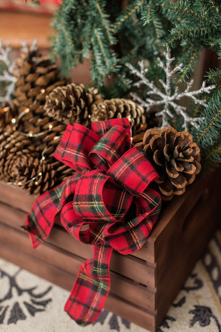 Plaid monograms natural wood ornaments feathers and i couldn t - Stained Wood Crate Full Of Pine Cones Finished With A String